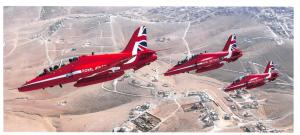 Panoramic Postcard, RAF The Red Arrows flying over Southern Jordan in 2017 OS231