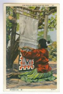 How Navajo Indian Rugs are Made, unused linen Curteich Postcard