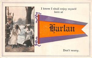 Michigan Mi PENNANT Postcard 1914 HARLAN Shall Enjoy Myself..