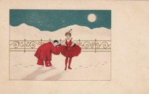 Art Deco ; Pierrot Clown Couple dancing #2, 1900-10s , M.M.VIENNE