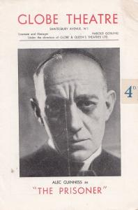 Alec Guiness as The Prisoner Globe Thriller Theatre Programme