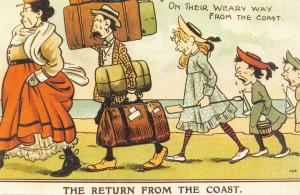 Edwardian Comic Reproduction Postcard, 1906 The Return from the Coast 24N