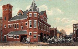 Norwich Connecticut Central Fire Station Vintage Postcard JJ649071