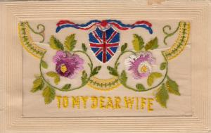 Hand Sewn, 1900-10s; To My Dear Wife, Flowers, Union Jack Shield