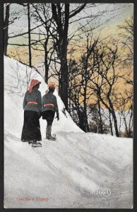 Out For A Tramp Two People Walking In Snow with Snowshoes Used c1907