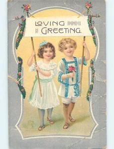 Edge Tears c1910 GIRL AND BOY HOLDING UP A LOVE GREETING SIGN HL5260