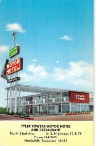 Humboldt Tennessee Tyler Towers Motor Hotel Street View Vintage Postcard K39213