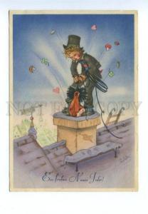 141918 Chimney sweep by Charlotte BARON vintage NEW YEAR PC