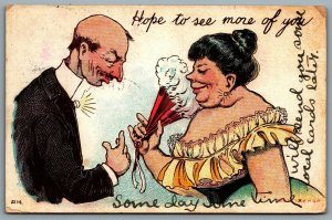 """Postcard c1907 Comic Humor """"Hope To See More Of You"""" Man and Lady with Hand Fan"""