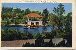 Band Stand and Trout Lake - Seneca Park NY Rochester, New York - pm 1940 - Linen