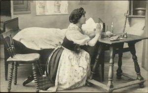 Woman Praying - Knitting Yarn & Needles on Bedside Table c1910 RPPC