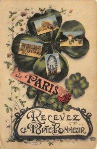 PARIS Recevez ce Porte Bonheur FRANCE Four-Leaf Clover Shamrock 1916 Postcard
