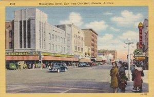 Arizona Phoenix Washington Street Looking East From City Hall 1952 Curteich 5446