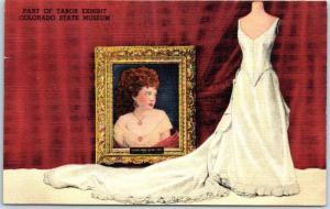 Denver CO Postcard Baby Doe Tabor Exhibit - COLORADO STATE MUSEUM Linen 1940s