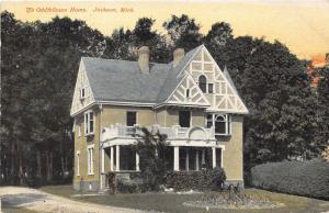 Jackson Michigan~Oddfellows Home~Boy Sitting on Porch Railing~c1910 Postcard