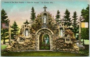 La Crosse, WI Hand-Colored Postcard VILLA ST. JOSEPH Grotto of the Holy Family