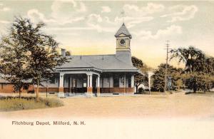 E8/ Milford New Hampshire Postcard c1910 Fitchburg Railroad Depot Station 18