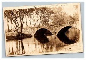 Vintage 1900's RPPC Postcard Court Street Stone Bridge Keene New Hampshire