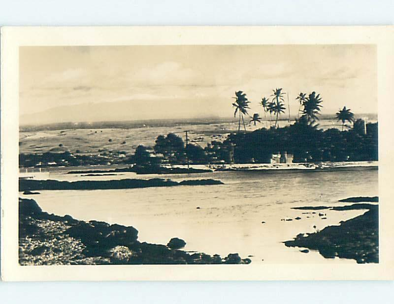 Pre-1950 rppc PALM TREES ON SHORELINE state of Hawaii HM3560