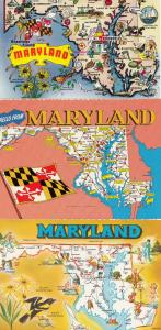 Maryland 3 Map Flag Bird Postcard s