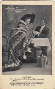 Merry Widow Woman Having Drink With Man