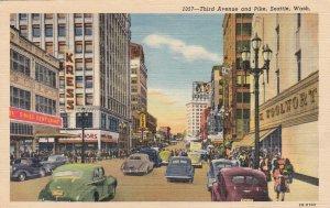 Washington Seattle Third Avenue & Pike Woolworth 1953 Curteich sk6744
