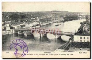 Old Postcard Corbeil Seine View Coteaux du Perray taking the & # 39Hotel City