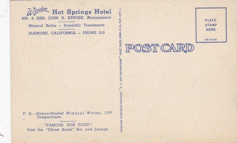 California Lake Elsinore Wreden Hot Springs Hotel Curteich sk4918