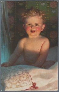 Old Postcard Small Nude Child Sitting in Bed
