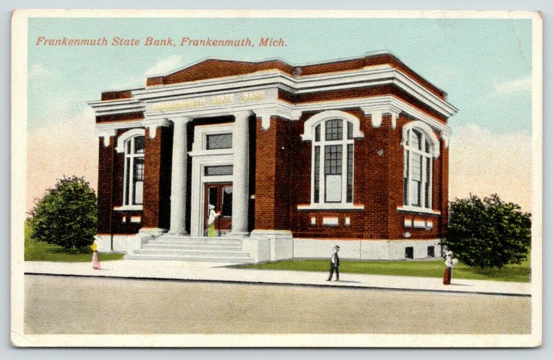Frankenmuth Michigan~Frankenmuth State Bank~Cartoon Victorians on Sidewalk~1916