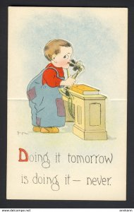 Boy talking on candlestick phone - Doing it tomorrow is doing it - mechanical