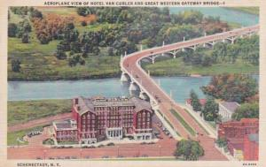 New York Schenectady Aeroplane View Of Hotel Van Curler & Great Western Gatew...
