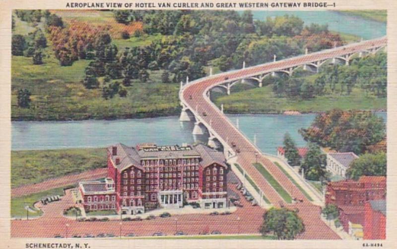 New York Schenectady Aeroplane View Of Hotel Van Curler & Great Western Gatew...