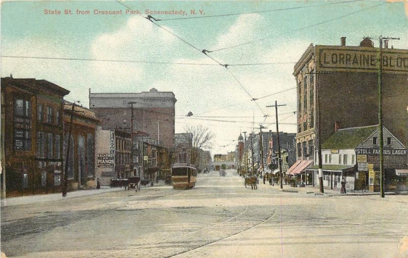 Chromograph Postcard; State Street, Crescent Park, Schenectady NY & Trolley