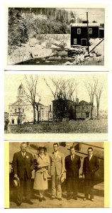 3 Postcards - Old Mill, People & Airplane, Town View (photocopy of RPPC)