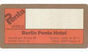 GERMANY BERLIN PENTA HOTEL VINTAGE LUGGAGE LABEL