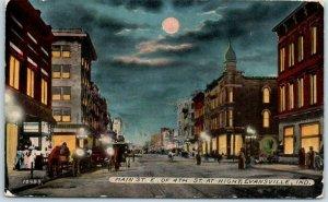 Evansville, Indiana Postcard MAIN STREET East of 4th St. at Night 1910s Unused