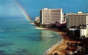 Hawaii Waikiki Sunrise Rainbow Over Sheraton Waikiki