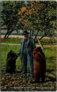 1910s Rochester, Minnesota Postcard Man w/ Bears A SCENE IN MAYO PARK Unused