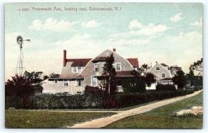 Postcard RI Buttonwoods Pre 1920's View Promenade Avenue Looking East E01