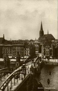 poland, SZCZECIN STETTIN, Most Długi, Hansabrücke (1928) RPPC Postcard