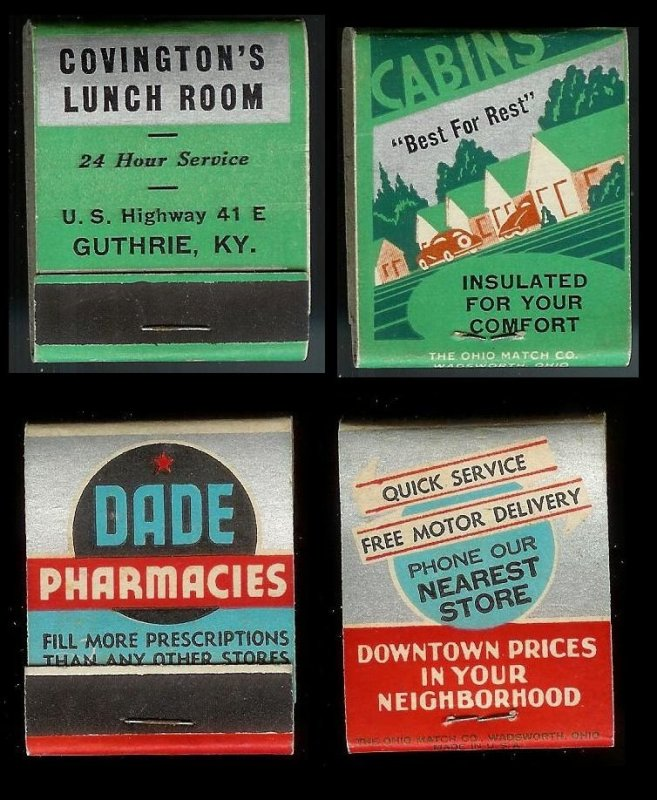 FULL UNSTRUCK MATCHBOOK Collection (32) all different from 1930s to 1950s