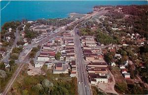 Walker Minnesota~Aerial View Downtown~Leach Lake~Homes~Churches~1960s Postcard