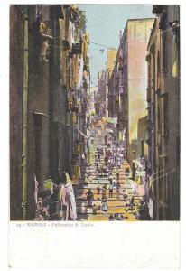Italy Napoli Pallonetto S Lucia Street Scene Vntg Postcard