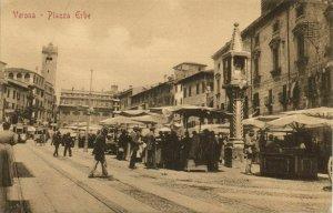 italy, VERONA, Piazza Erbe, Trams (1910s) Postcard