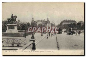 Old Postcard Paris Pont Neuf and the Statue equestrian Henry IV