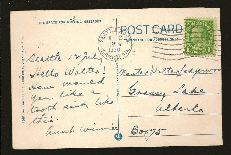 USA Postmark 1930 Seattle Wash Washington Tooth Picks American Art Postcard