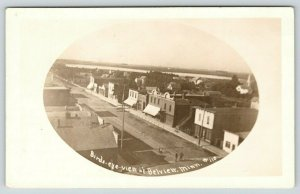 Belview Minnesota~Birdseye Downtown Storefonts~Men in Middle Street~c1912 RPPC
