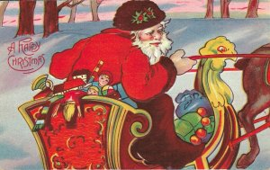 A Happy Christmas - Embossed Santa Claus On Sleigh With Toys - 03.98