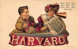 College Girls Harvard University Football College Series #7 Embossed Postcard